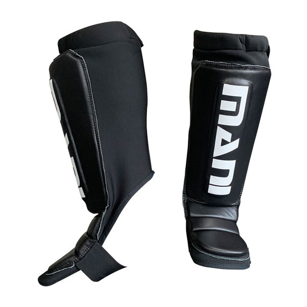 Neoprene Shin and Instep Guard Pads with Leather Front