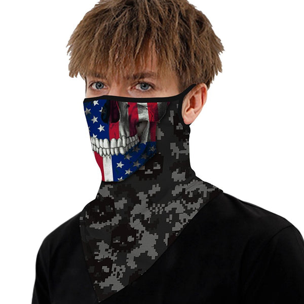 Breathable Face Mask USA Skull Flag with Ear Loop