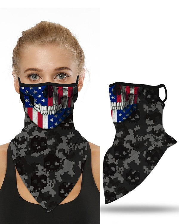Breathable Face Mask USA Skull Flag with Ear Loop - Mani Sports®