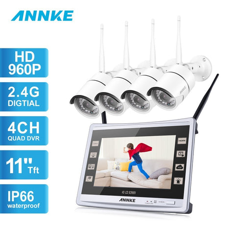 ANNKE 960P Wireless Video Security System with 4X 1.3 Bullet IP Camera