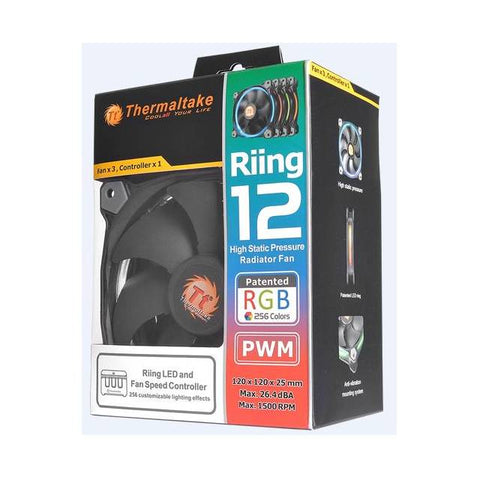Thermaltake Riing 12 RGB Series 120mm LED RGB 256 Colors Case Fan (Triple Pack)