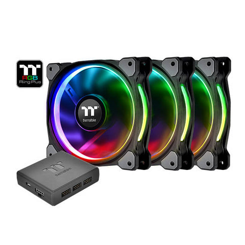 Thermaltake Riing Plus 14 LED RGB Radiator Fan TT Premium Edition Case Fan (3 Fan Pack)