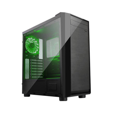 Apevia X-MIRAGE-GN No Power Supply ATX Mid Tower w/ Side Window (Black/Green)
