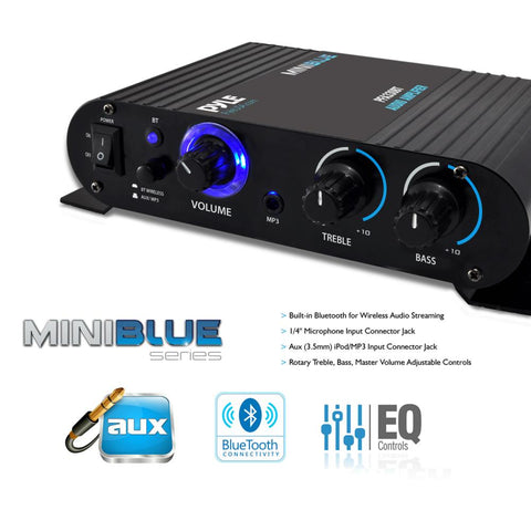 PyleHome Mini Blue PFA330BT Amplifier - 90 W RMS - 2 Channel - 20 Hz to 20 kHz - Bluetooth PUSH-TYPE SPKR TERMINALS 90WATT AMP