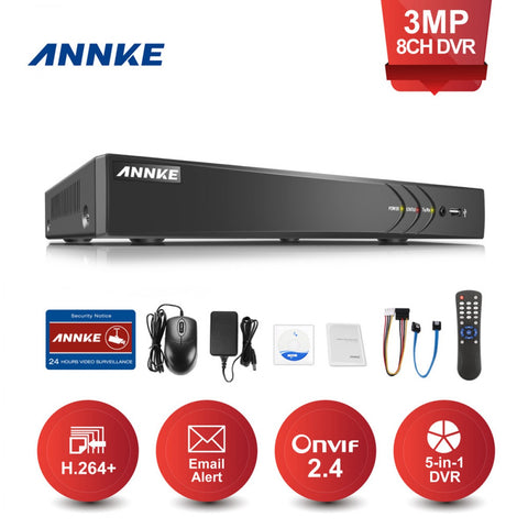 ANNKE DT81GB 8CH 3MP HD Live Viewing H.264+ Video Compression TVI Digital Video Recorder