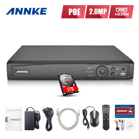 ANNKE 4CH HD 6MP POE NVR Advanced H.264+ Video Compression with 1TB HDD