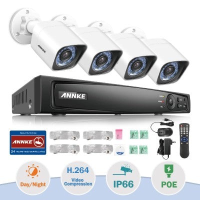 ANNKE 4CH 1080P HD PoE Network Video Security System NVR With 4X Bullet Cameras