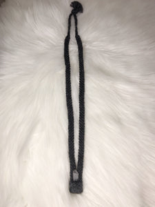 Black Woven Neckpiece with Lemurian Quartz Point