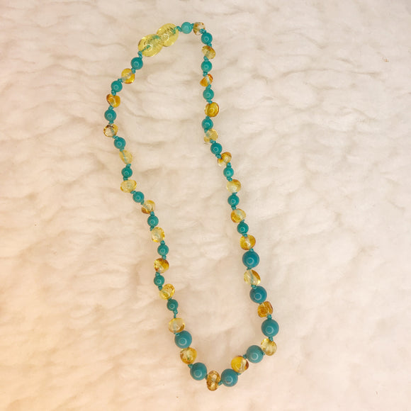 Baby Teething Necklace - Amber and Turquoise