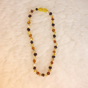 Baby Teething Necklace - Dark and Golden Amber