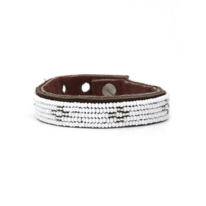 Swahili Coast - Small Silver Diamond Leather Cuff