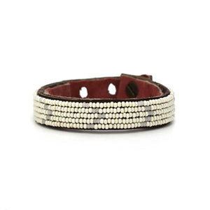 Swahili Coast - Small Pearl and Matte White Chevron Leather Cuff