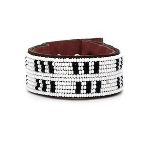 Swahili Coast - Medium Black and White Stitches Leather Cuff