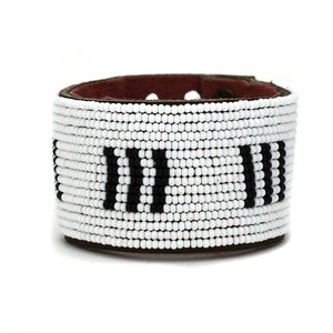 Swahili Coast - Large Black and White Stitches Leather Cuff