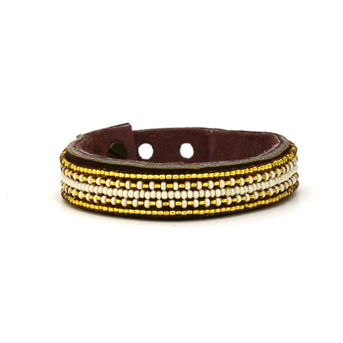 Swahili Coast - Small Gold and Pearl Stripe Leather Cuff