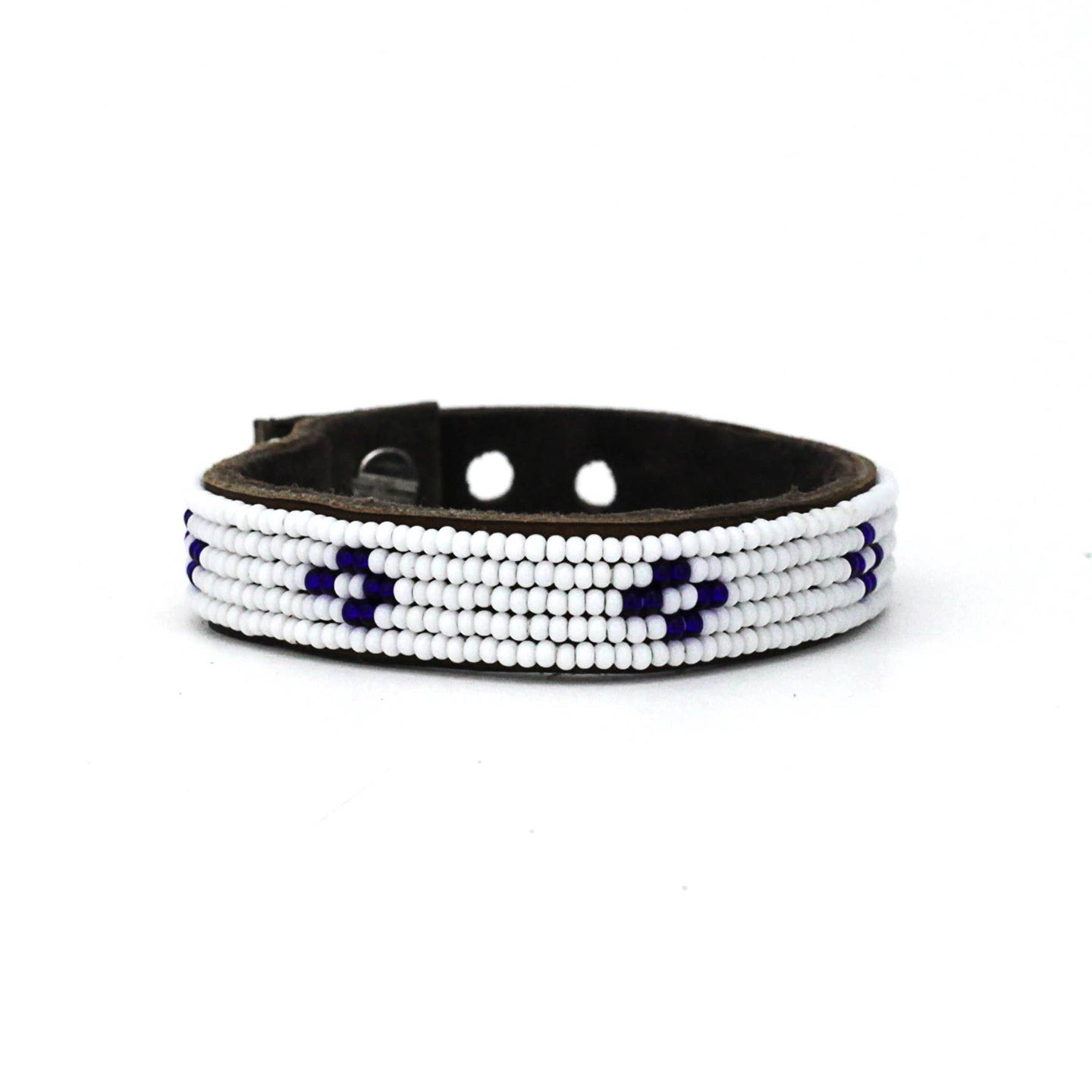 Swahili Coast - Small Dark Blue Diamond Leather Cuff