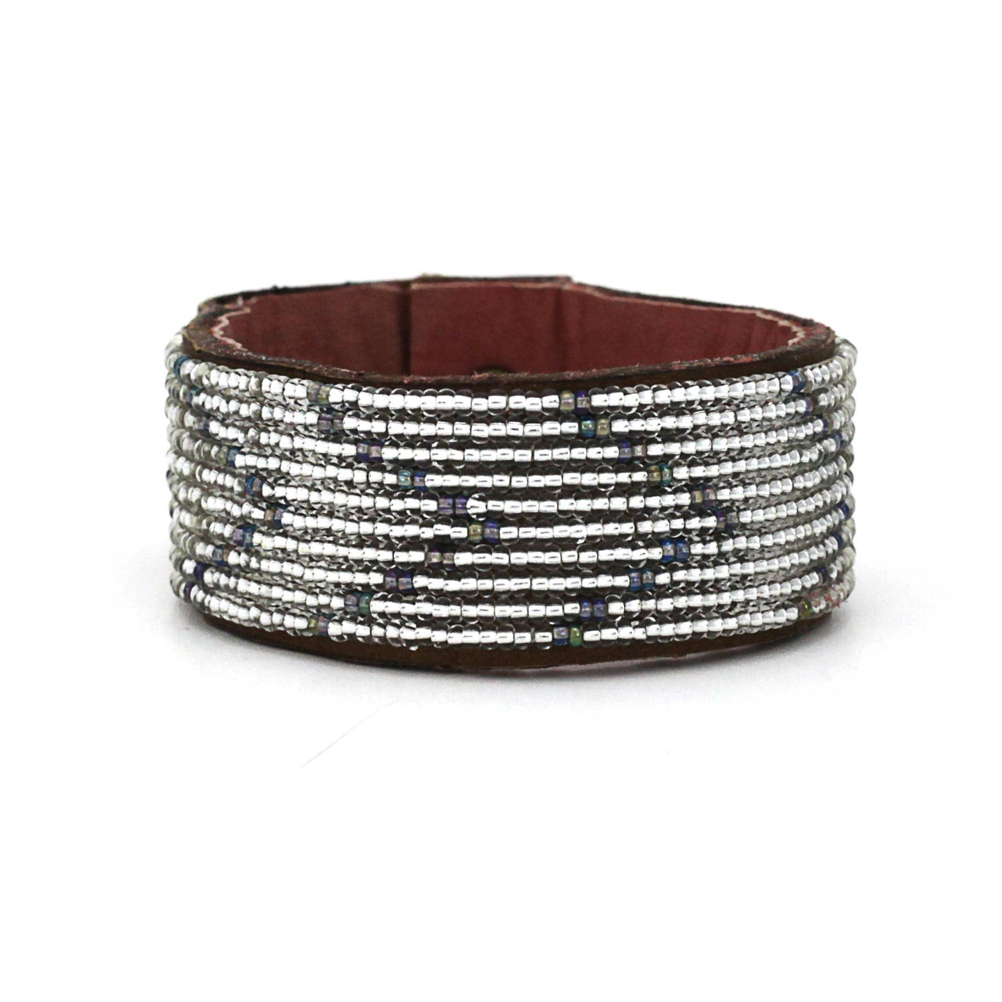 Swahili Coast - Medium Silver/Rainbow Chevron Leather Cuff - Limited Edition