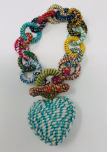 Heart Bracelet Handmade Woven Loop Toggle Multi Color