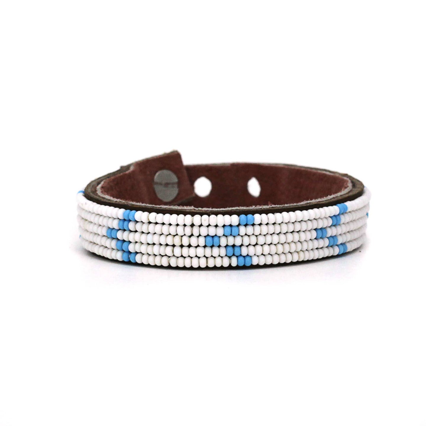 Swahili Coast - Small Light Blue Chevron Leather Cuff