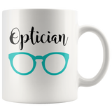 Shnazzy 'Optician' with teal glasses mug