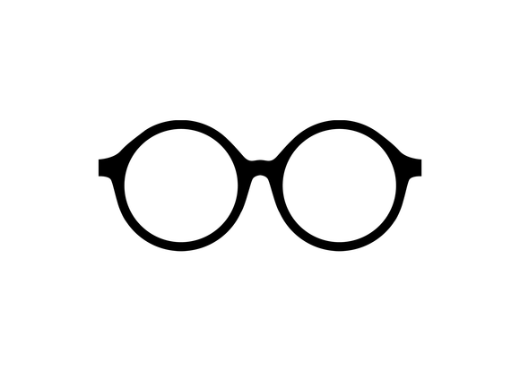 Black round eyeglasses vinyl decal