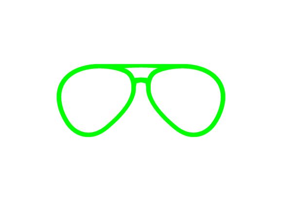 Lime aviator eyeglasses vinyl decal