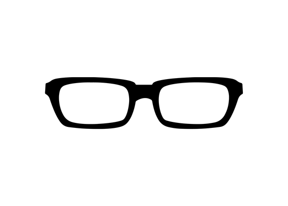 Black rectangle eyeglass decal