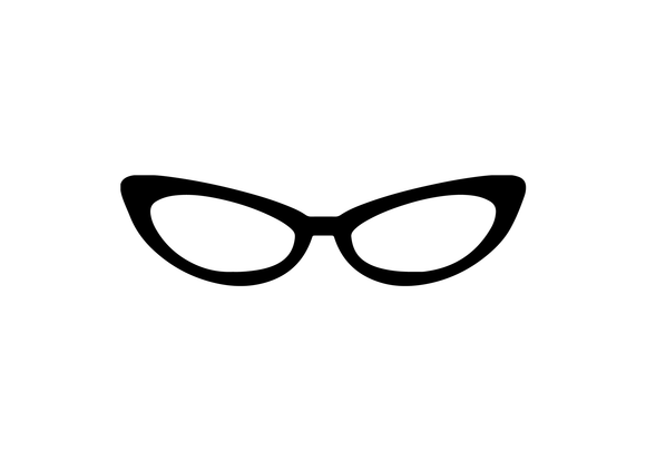 Black cat-eye glasses decal