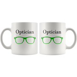 """Optician"" and green glasses on white mug both sides printed"
