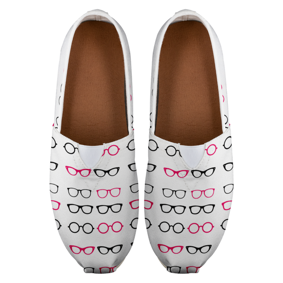 Pink Glasses Canvas Shoes