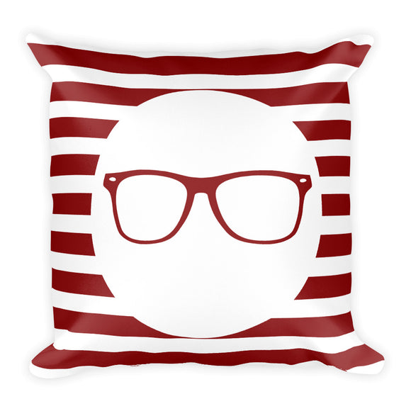 Dark Red Stripe Throw Pillow