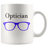 """Optician"" and purple glasses on white mug"
