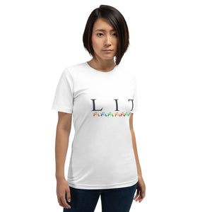 LIT Short-Sleeve Unisex T-Shirt, Funny Christmas Shirt, Christmas Shirt For Women, Let's Get Lit Shirt, Holiday Tee
