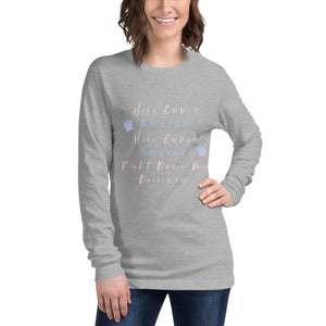 Here Comes Amazon Here Comes Amazon Right Down My Driveway Unisex Long Sleeve Tee, Women's Christmas Shirt, Christmas Party Shirt, Women's Christmas Top, Holiday Tee, Funny Women's Christmas Tee