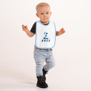 Mini Boss Embroidered Baby Bib