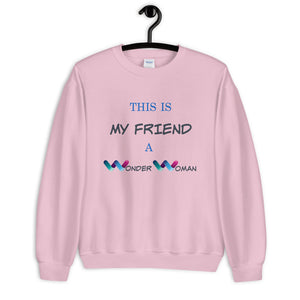 Best Friend Sweater, BFF Sweater, Best Friend Gift, Long Distance Friendship, Birthday Gift – Wonder Woman Friend - Gift for Sister – Gift For Friend, Women DC Heroes - Gift For her - Sister Club - Mom Gift -Best Friend Birthday Gift