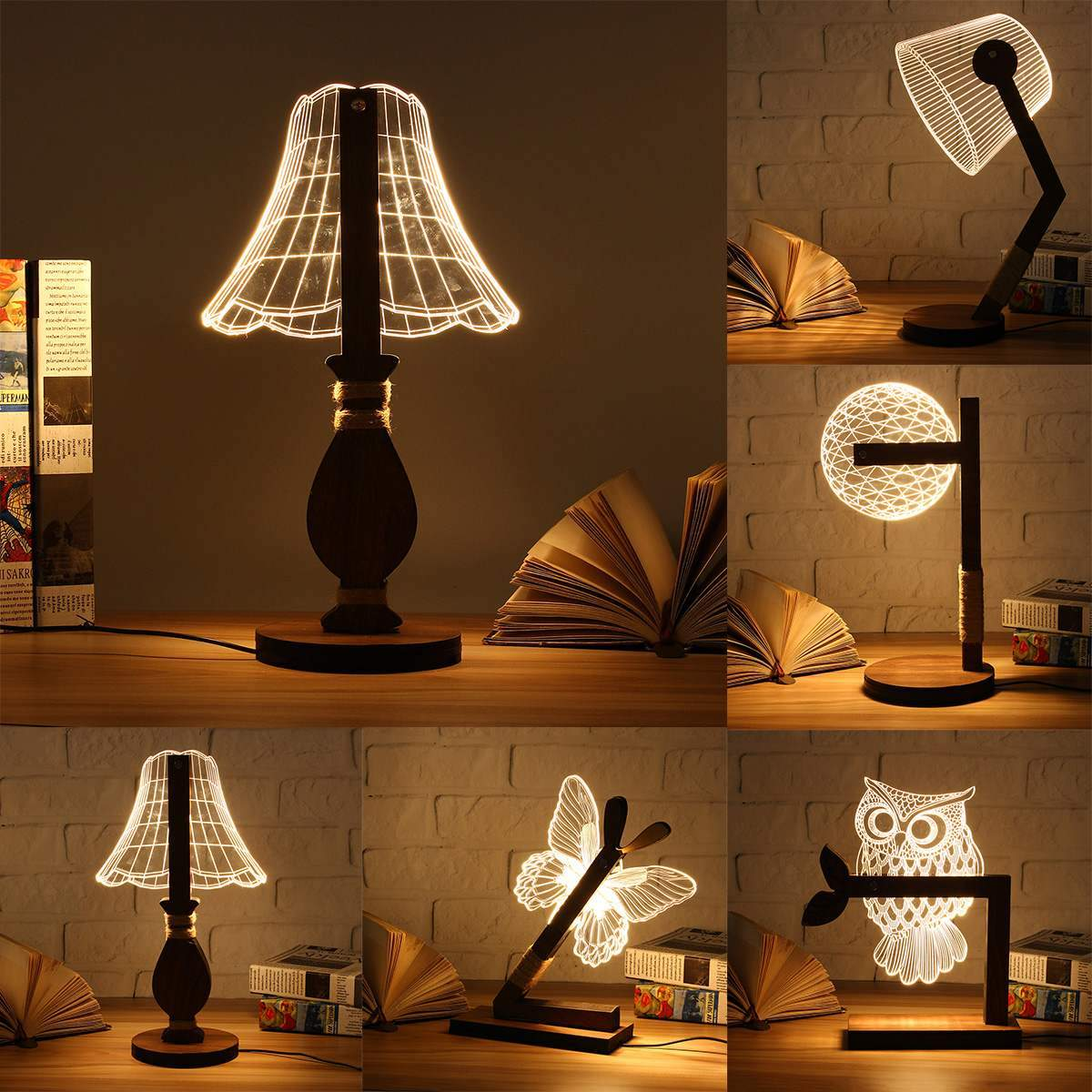 Wooden 3D Animal USB LED Night Light