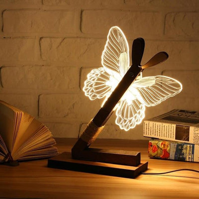 Wooden 3D Animal USB LED Night Light Butterfly