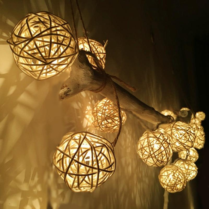 Rattan Basket Warm White LED String Light 2M