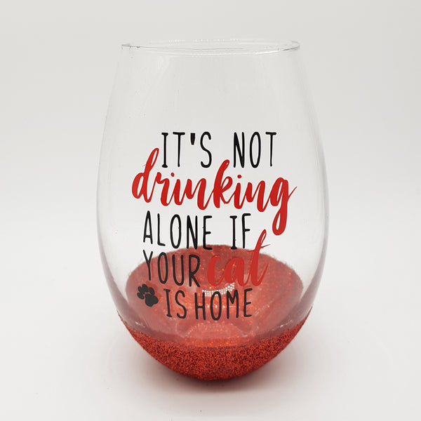 Drinking Alone Cat Stemless Wine Glass
