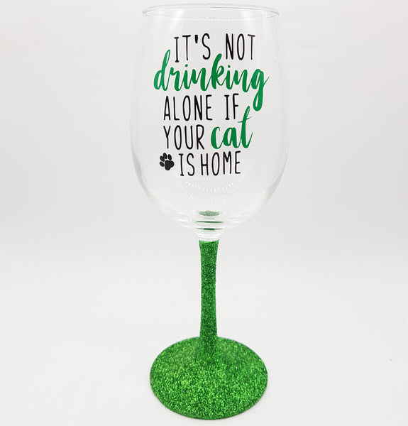 Drinking Alone Cat Wine Glass (without glitter)