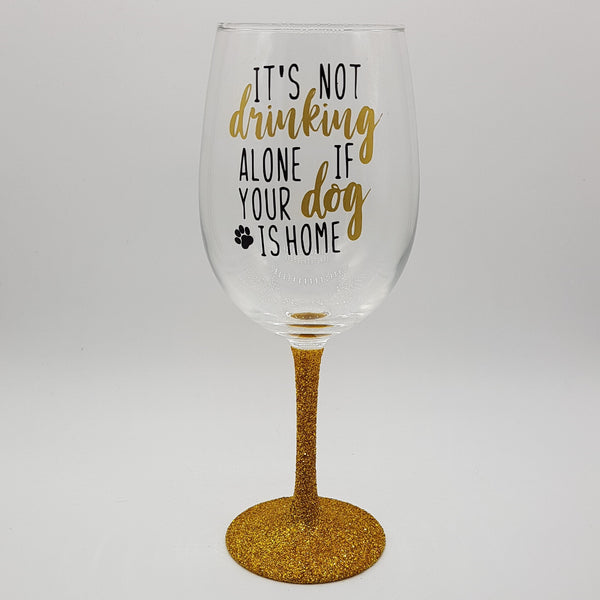 Drinking Alone Dog Wine Glass
