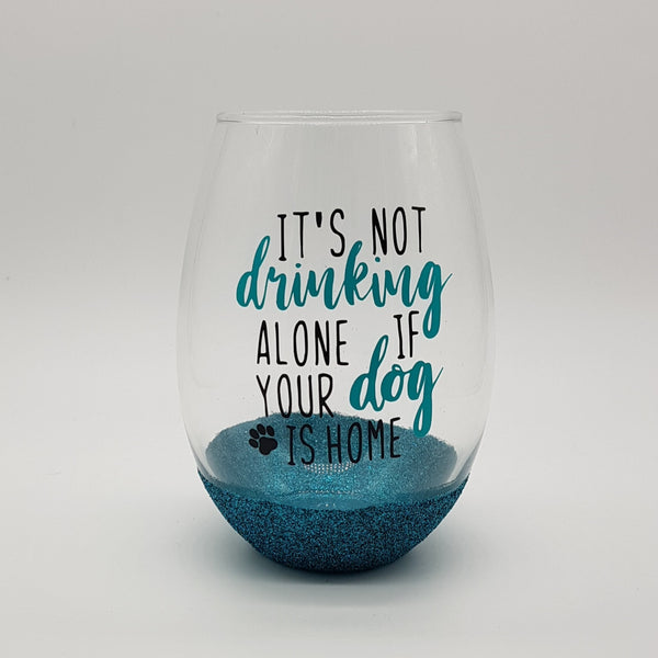 Drinking Alone Dog Stemless Wine Glass (without glitter)
