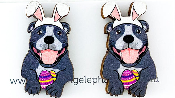 Staffy Easter Studs