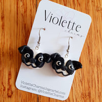 Staffy (Black/ White) Clay Dangles