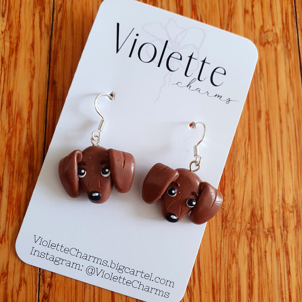 Dachshund (Brown) Clay Dangles