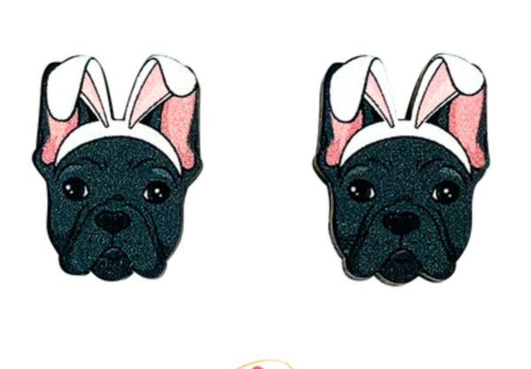 Frenchie (Black) Easter Studs