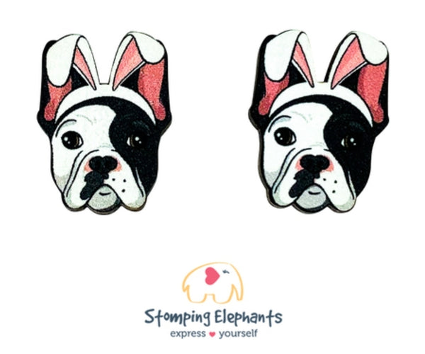 Frenchie (Black & White) Easter Studs