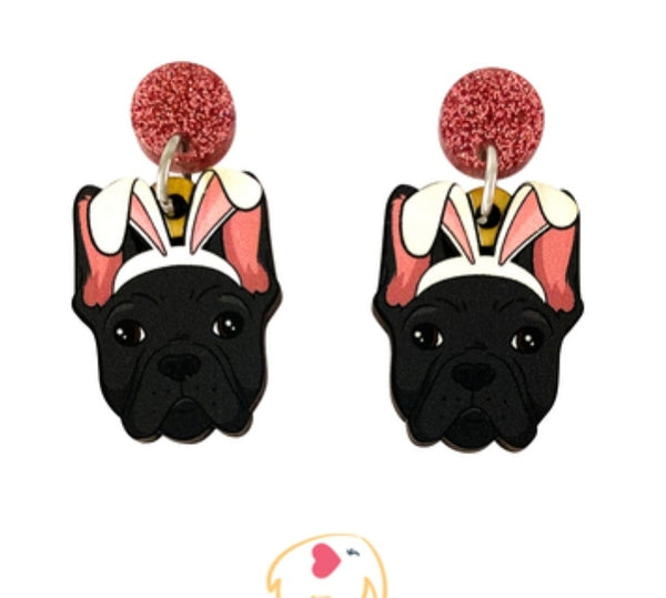 Frenchie (Black) Easter Dangles