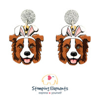 Border Collie (Brown) Easter Dangles
